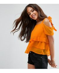 ASOS - Purple Tie Strap Cold Shoulder Tiered Pleated Sun Top - Lyst