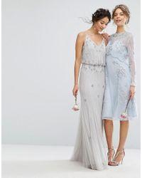 Amelia Rose Blue Embellished Midi Dress With Detachable Crop Overlay