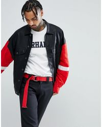 ASOS - Leather Look Oversized Western With Nylon Sleeves In Black for Men - Lyst