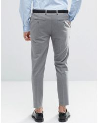 ASOS - Gray Super Skinny Crop Smart Trousers In Grey for Men - Lyst