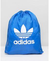 Adidas Originals | Trefoil Drawstring Backpack In Blue Bj8358 for Men | Lyst