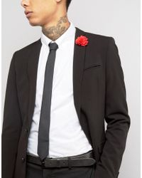 ASOS | Black Tie With Red Flower Lapel Pin Pack for Men | Lyst