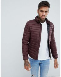 Pull&Bear Purple Puffer Jacket In Burgundy for men