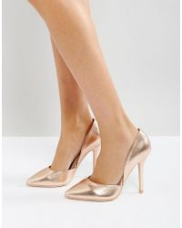 99e68a3ee7b Glamorous Rose Gold Heeled Court Shoes in Metallic - Lyst