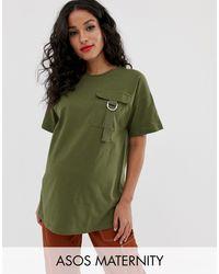 ASOS DESIGN Maternity - T-shirt con pratica tasca di ASOS in Green