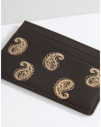 ASOS | Brown Leather Cardholder With Paisley Embroidery for Men | Lyst
