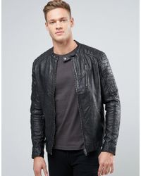 2d2c5d64d Men's Black Vintage Leather Biker Jacket