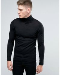 Lindbergh Jumper With Roll Neck In Black Merino Wool for men