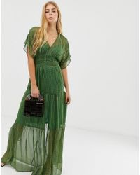 Vestido largo a capas con hilo con purpurina Wanda Ba&sh de color Green