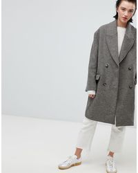 Оversize-пальто С Шевронообразным Узором -бежевый Weekday, цвет: Gray