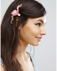 ASOS - Pink Limited Edition Glitter Flamingo Hair Clip - Lyst