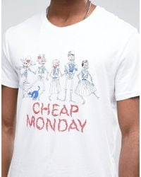 Cheap Monday White Skeleton Family T-shirt for men