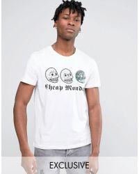 Cheap Monday White Triple Skull T-shirt for men