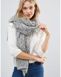 Free People   Gray Oversized Chunky Knitted Scarf   Lyst