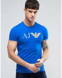 Armani Jeans | Eagle Logo T-shirt Slim Fit In Blue for Men | Lyst