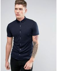 Armani Jeans | Blue Jersey Shirt Short Sleeve Slim Fit Stretch In Navy for Men | Lyst