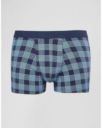 New Look - Check Trunks In Blue Pattern for Men - Lyst