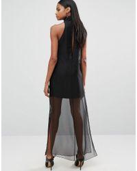AQ/AQ - Black Aq/aq Sheer Skirt Maxi Dress With High Neck - Lyst