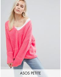 ASOS Pink Chunky Sweater In Fluffy Yarn With V Neck