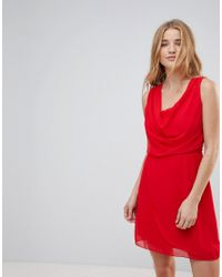 Wal-G - Red Drape Front Dress - Lyst