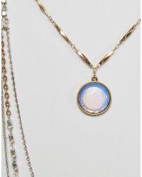 ASOS - Multicolor Multirow Moodstone Long Necklace - Lyst