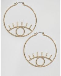 ASOS - Metallic Open Eye Hoop Earrings - Lyst