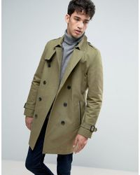 ASOS Green Double Breasted Trench Coat With Shower Resistance In Light Khaki for men