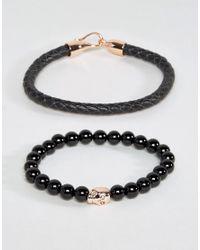 Simon Carter | Black Leather And Onyx Beaded Bracelet Set With Rose Gold Skull for Men | Lyst