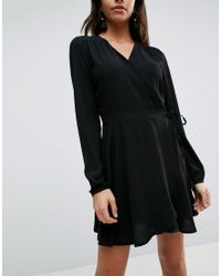 Liquorish | Black V Neck Wrap Front A Line Dress With Long Sleeves | Lyst