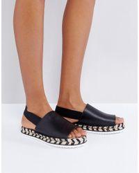 Monki Black Mono Espadrille Flatform Sandals