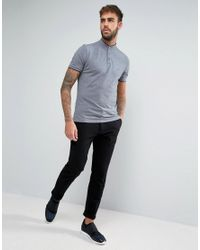 Calvin Klein | Gray Collarless Polo Shirt for Men | Lyst