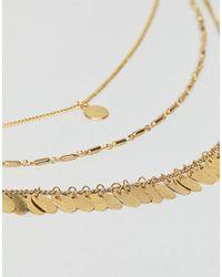 ASOS - Metallic Petal Disc Multirow Necklace - Lyst