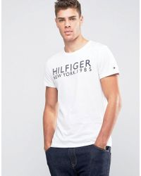 Tommy Hilfiger Logo T-shirt In Organic Cotton White for men
