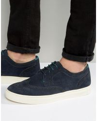 Ted Baker | Blue Rachet Suede Brogue Trainers for Men | Lyst
