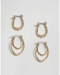 ASOS | Metallic Pack Of 2 Twist Bar Hoop Earrings | Lyst