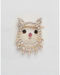 ASOS | Metallic Crystal Kitty Cat Badge | Lyst