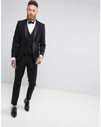 Moss Bros Black Moss London Skinny Tuxedo Suit Jacket for men
