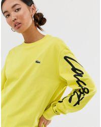 Футболка С Длинным Рукавом Унисекс С Логотипом-надписью Live Lacoste, цвет: Yellow