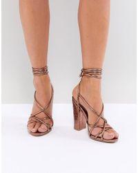 3eaed689ab5b Missguided Croc Multi Strap Block Heel Sandal in Brown - Lyst