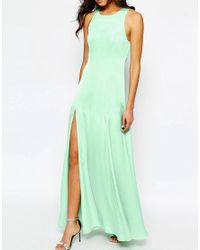 Fame & Partners - Green Asleigh Maxi Dress With Open Back And Side Splits - Lyst