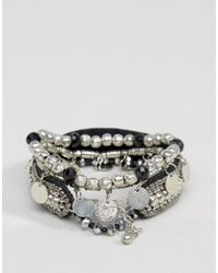 Pieces - Metallic Mia Multipack Stacking Bracelets - Lyst