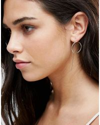 Pieces - Metallic Maria Hoop Through & Through Earrings - Lyst