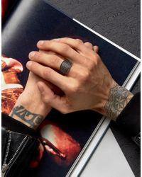 ASOS - Metallic Ring In Gold With Emboss Detail for Men - Lyst