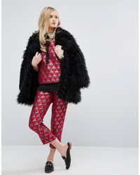 Sister Jane Red Cigarette Trousers In Bee Jacquard Co-ord
