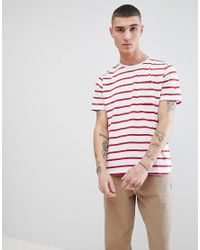 Another Influence Red Fitted Stretch Curved Hem T-shirt for men