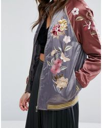 Miss Selfridge Gray Satin Embroidered Bomber Jacket