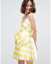 ASOS | Yellow Salon Candy Stripe Bow Front Mini Dress | Lyst