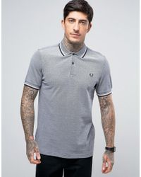Fred Perry | Gray Slim Pique Polo Shirt Twin Tipped In Grey Oxford for Men | Lyst