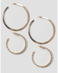 ASOS | Metallic Pack Of 2 56mm Smooth & 36mm Twist Hoop Earrings | Lyst