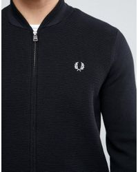 Fred Perry Blue Bomber Neck Cardigan In Navy for men